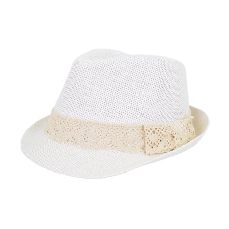 Women's Lace Ribbon Band Fedora Straw Sun Hat (White Felt Fedora)