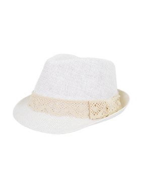 Women's Lace Ribbon Band Fedora Straw Sun Hat