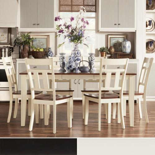 TRIBECCA HOME Eli Rustic Two Tone Mission Extending Dining Set Off White/ Cherry