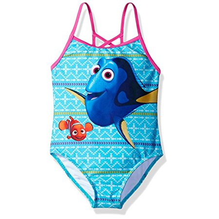 6x One Piece Swimsuit (Finding Dory Nemo Girls Swimwear Swimsuit (Little Kid) (6X, Blue/Pink One Piece) )