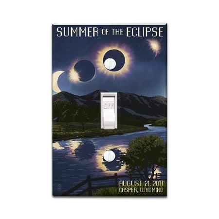 Casper, Wyoming - Solar Eclipse 2017 - Summer of the Eclipse - Lantern Press Artwork (Light Switchplate Cover)