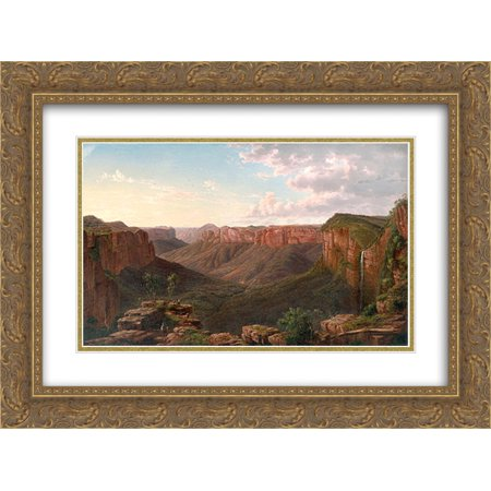 Eugene Von Guerard 2X Matted 24X18 Gold Ornate Framed Art Print Govetts Leap And Grose River Valley  Blue Mountains  New South Wales