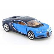 "Bugatti Chiron, Blue/Dark Blue - Welly 43738D - 4.5"" Diecast Model Toy Car (Brand New but NO BOX)"