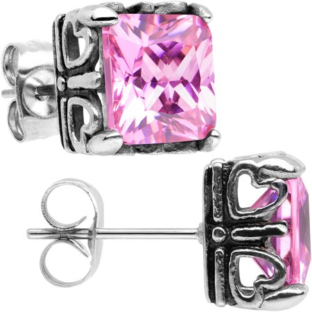 Body Candy Stainless Steel Pink Scrolled Heart Frame Square Stud - Scroll Design Earrings