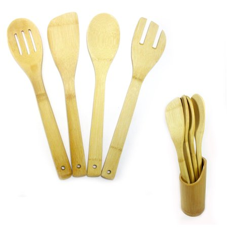 5 pc set bamboo wooden kitchen tools cooking utensil for Lagostina kitchen tool set 8 pc