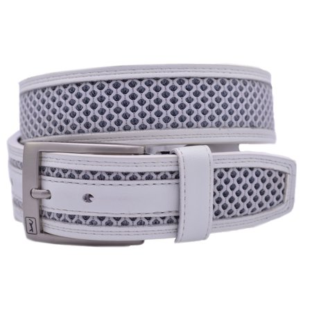 Pga Tour Leather Belt With Mesh Inlay   White