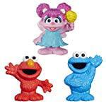 Set of 3: Sesame Street Mini-Figure Toys - Elmo, Cookie Monster & Abby Cadabby - Abby Cadabby Merchandise
