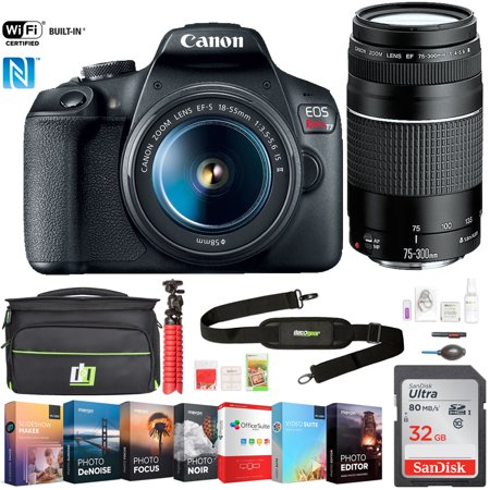 Canon EOS Rebel T7 DSLR Camera with EF18-55mm + EF 75-300mm Double Zoom Kit (2727C021) w/ 32GB Deluxe Accessory Bundle Includes, Deco Gear Camera Bag and Photo and Video Professional (Camera Bag Bundle)