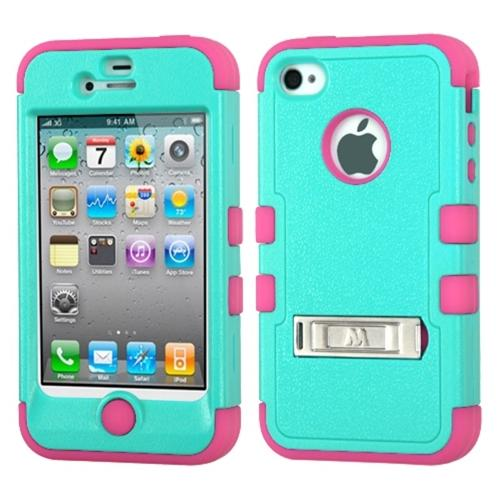 Insten Teal Green/Electric Pink Hybrid Protective Case Skin Stand Design Hard For iPhone 4 4s 4G