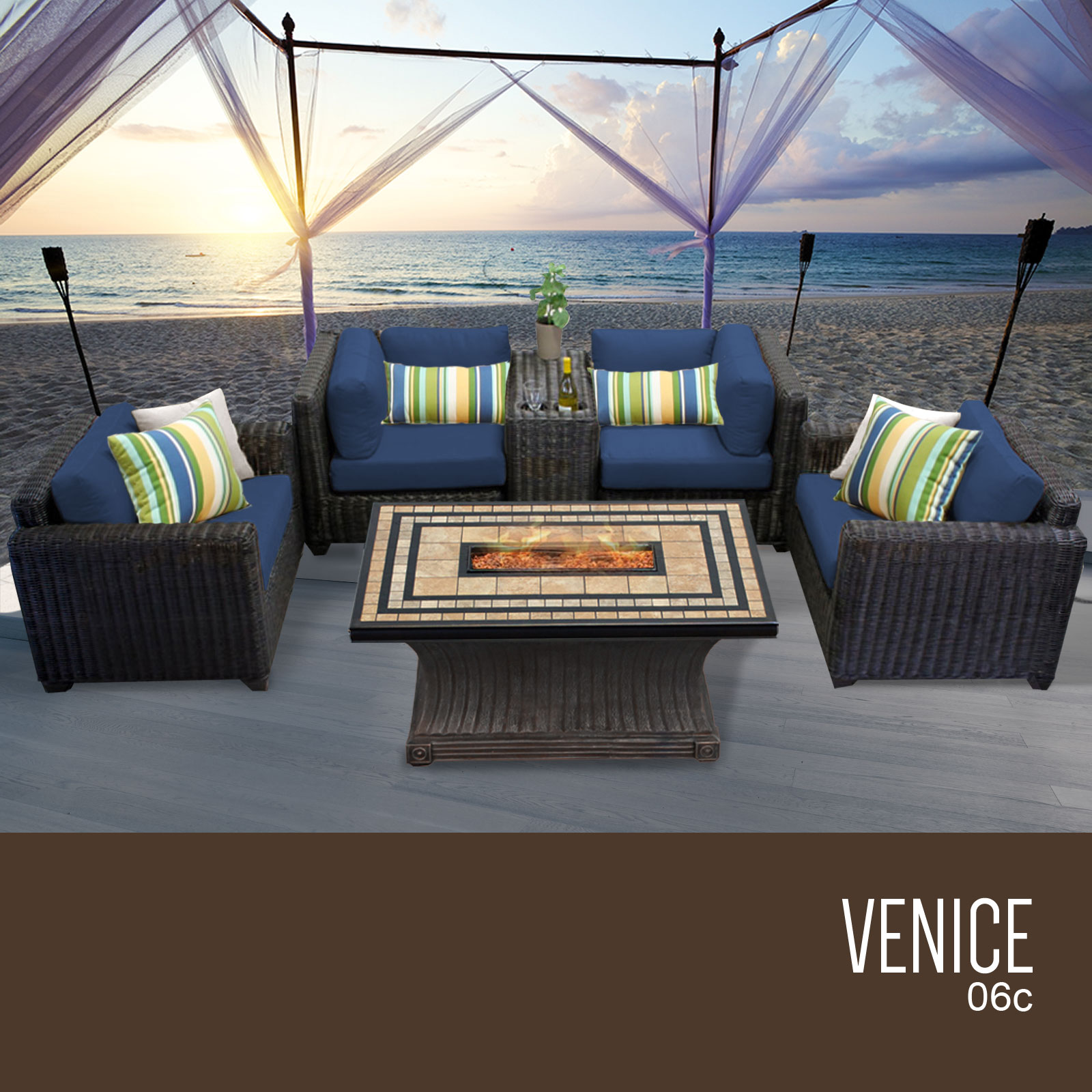 TK Classics Venice 6 Piece Outdoor Wicker Patio Furniture...