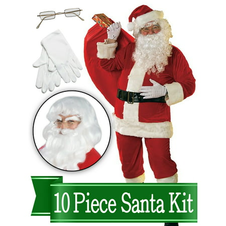 Santa Suit - Rental Quality Red Ultra Velvet Deluxe - Santa Costume Outfit - Complete 10 Piece Kit - Costume Rentals