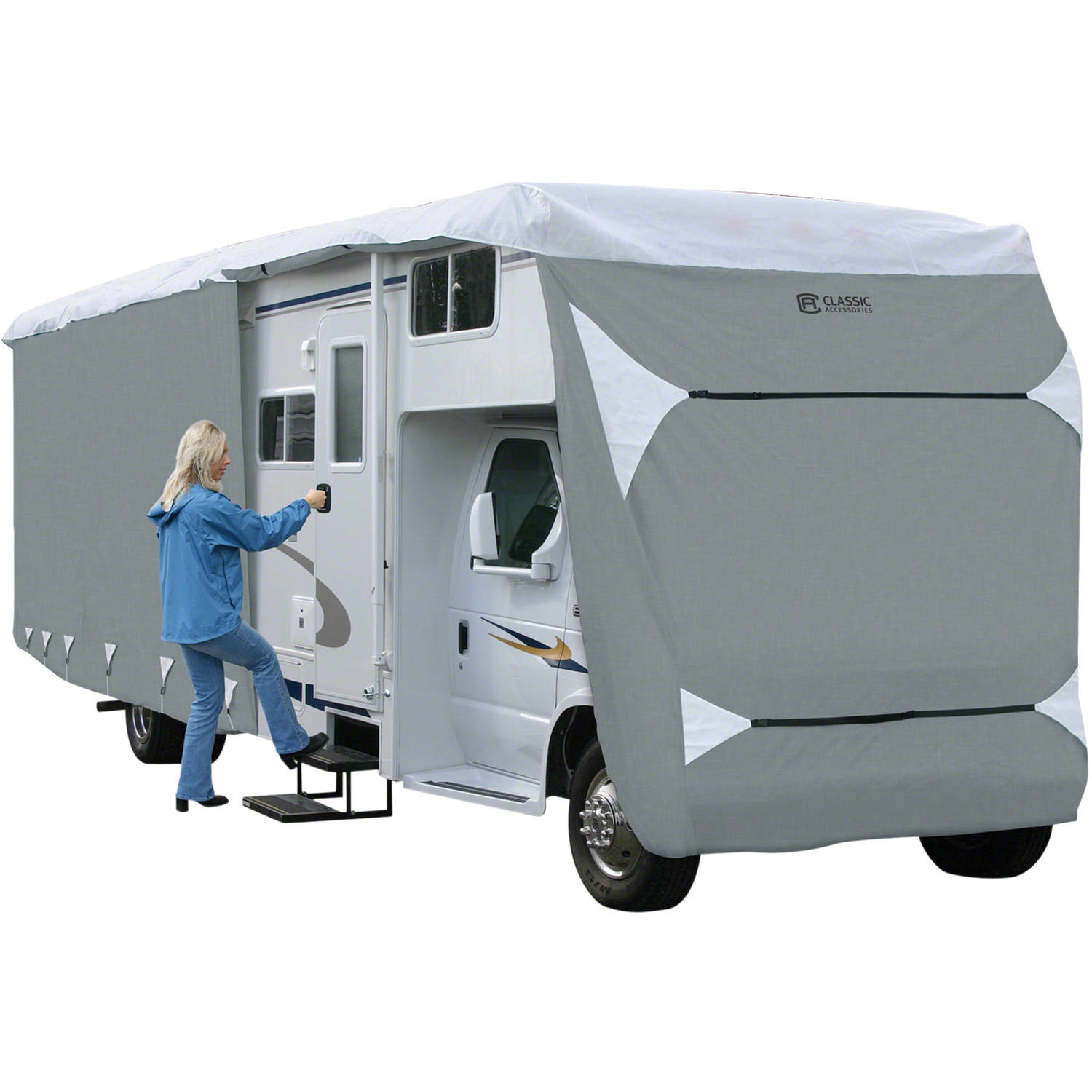 Classic Accessories PolyPRO 3 Class C RV Storage Cover, Grey
