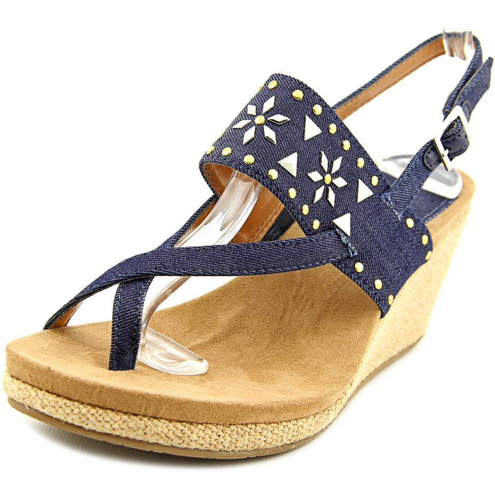 Style & Co Jazzmin Women  Open Toe Canvas Blue Wedge Sandal