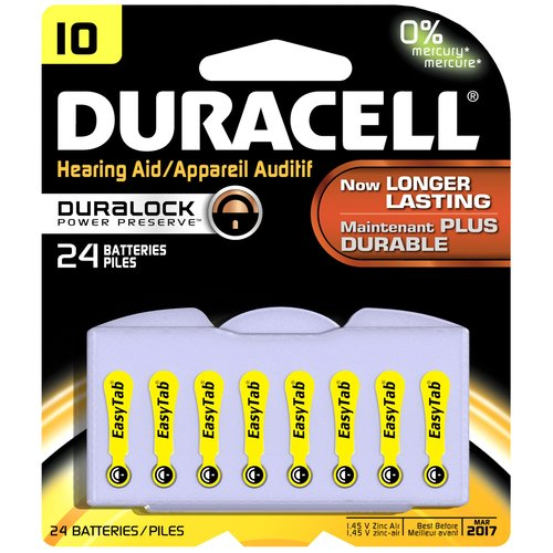Duracell Easy Tab Hearing Aid Batteries, Size, 10, 24 count