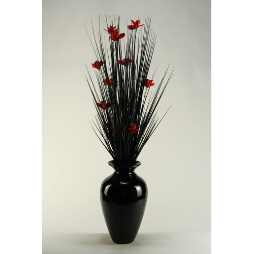 D & W Silks Black Ting with Red Blossoms in Black Spun Bamboo Vase