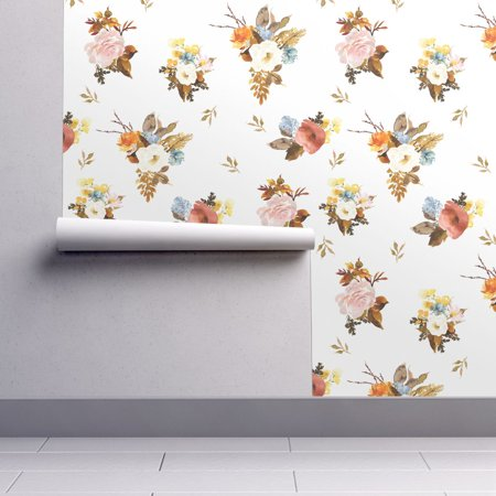 Autumn Rust Pastel (Wallpaper Roll Flowers Floral Autumn Fall Foliage Wedding Rust 24in x 27ft)