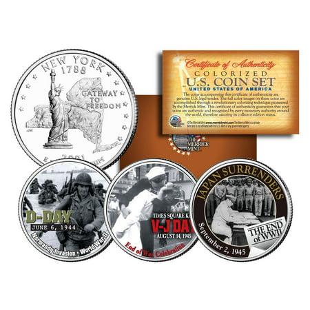 WORLD WAR II 3-Coin Set NY Statehood US Quarters * D-DAY * V-J DAY * End of