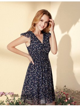 4f6109fdf730 Product Image Ever-Pretty Women s Floral Printed Chiffon V Neck Short  Holiday Party Summer Casual Dresses for