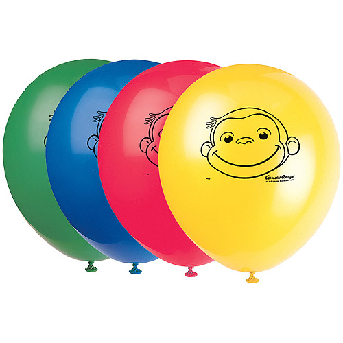 "12"" Latex Curious George Balloons, 8ct"