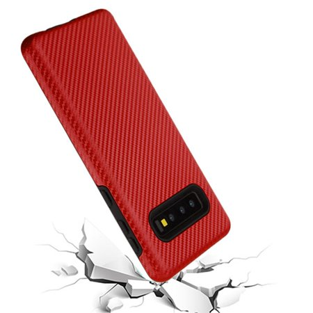 Samsung Galaxy S10 Case, by Insten Carbon Fiber Dual Layer [Shock Absorbing] Hybrid Hard Plastic/Soft TPU Rubber Case Cover For Samsung Galaxy S10, Red/Black - image 4 of 5