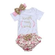 Newborn Baby Girls Outfit Clothes Floral Romper Jumpsuit Bodysuit Pants Headband