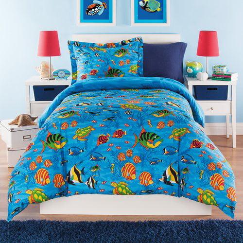 Zoomie Kids Hartsell Under the Sea Cotton Reversible Comforter Set