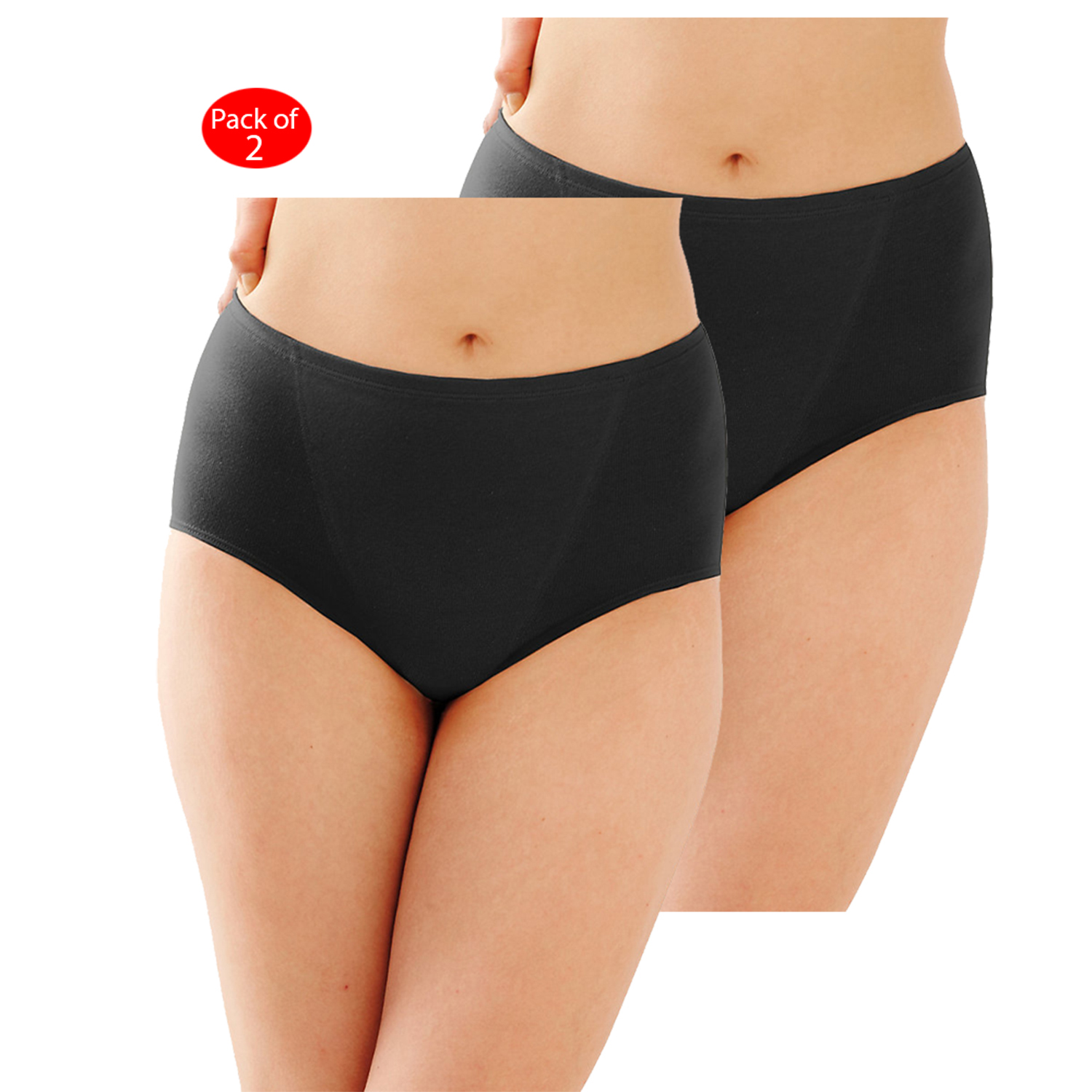 Bali Cool Comfort Cottony Shaping Brief Light Control 2-Pack, Color: Black/Nude, Size: 2XL --- PACK OF 4 (Women's Shapewear - Original Company Packing)