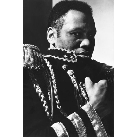 Paul Robeson in The Emperor Jones staring & clutching military jacket 24x36 Poster