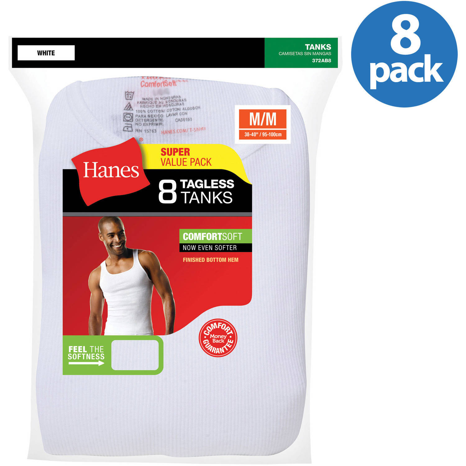 Hanes Big Mens ComfortSoft White Tagless Tank Value 8-Pack