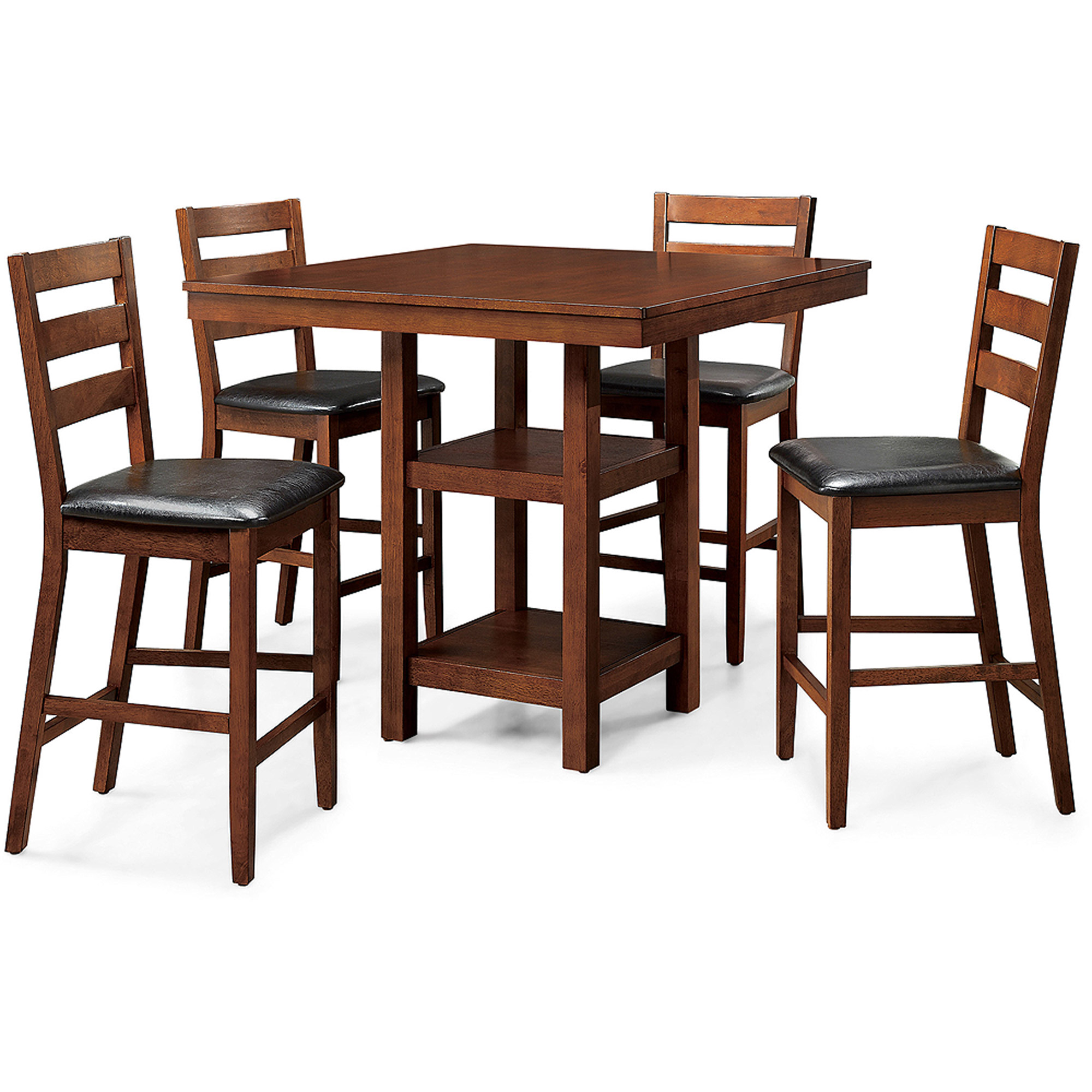 Better Homes & Gardens Dalton Park 5-Piece Counter Height Dining Set, Includes Table and Four Chairs, Mocha Finish