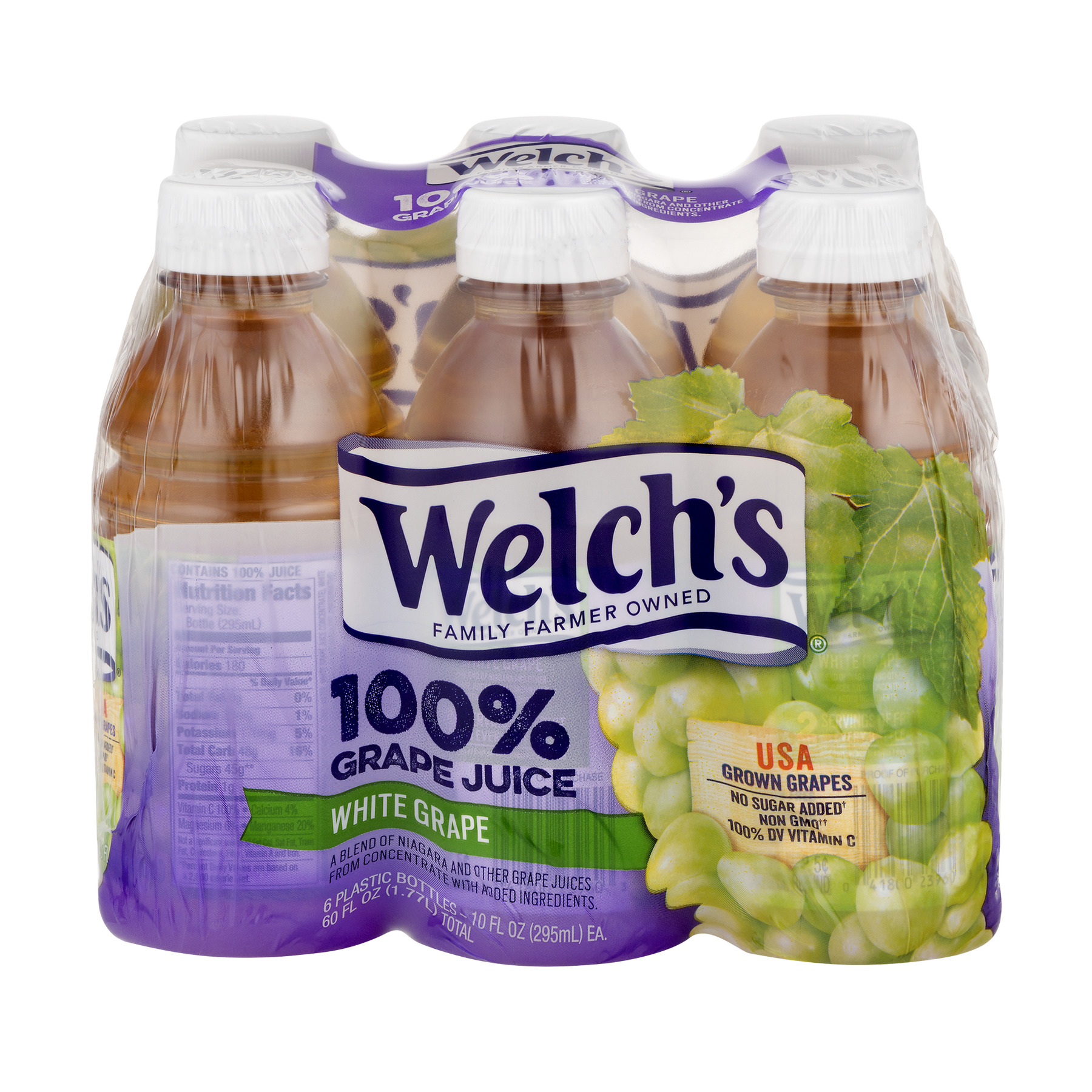 Welch's 100% Juice, White Grape, 10 Fl Oz, 6 Count