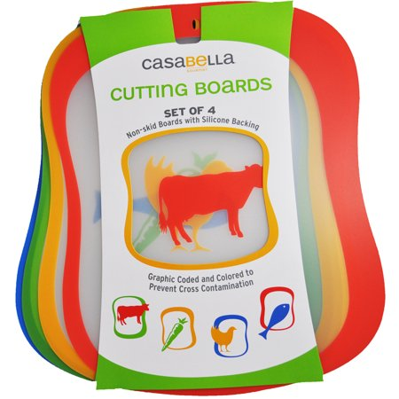 - Casabella Cutting Boards Non-skid 16in x 12.5in Set 4 Color Coded To Prevent Cross Contamination