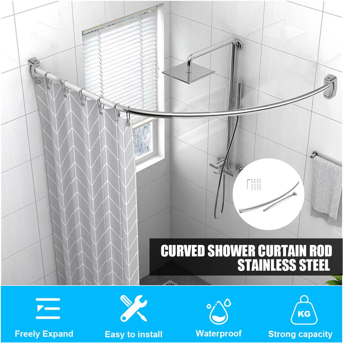 Adjustable Curved Shower Curtain Rod Stainless Steel Telescopic Pole Bathroom Decor Easy To Install Walmart Com Walmart Com
