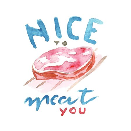 Nice To Meat You Wall Decor Poster Funny Humor Art Kitchen Print, Small Signs - 18x24 ()