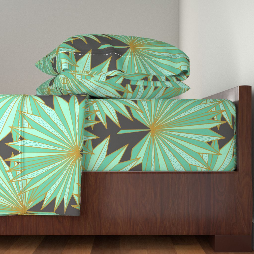 Art Deco Palm Tropical Gold 100% Cotton Sateen Sheet Set by Roostery