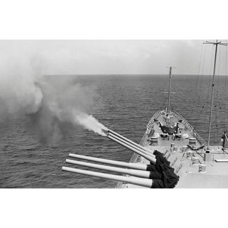 USS Bostons triple gun turret fires on North Vietnamese targets Operation Sea Dragon 1968 Poster Print by Stocktrek Images