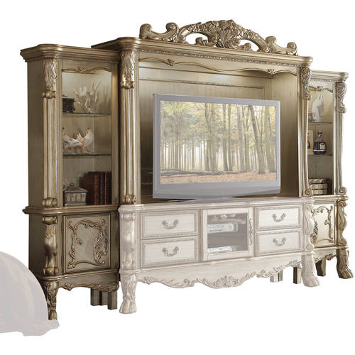 Image of Acme Dresden Entertainment Center for TV up to 70;, Gold Patina; Bone