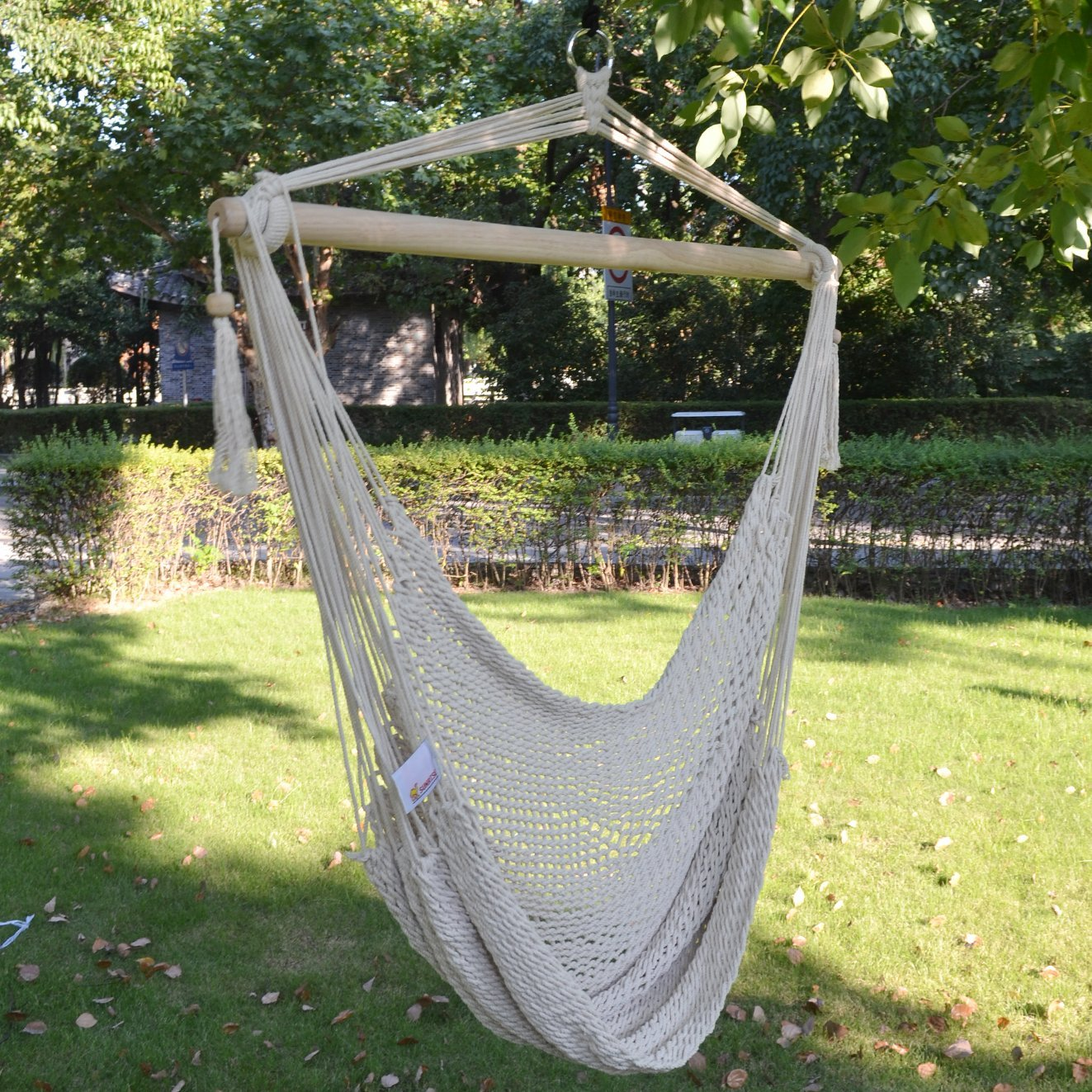 Sunrise Outdoor Patio Hanging Swing Cotton Rope Hammock Chair, Up to 260 lbs