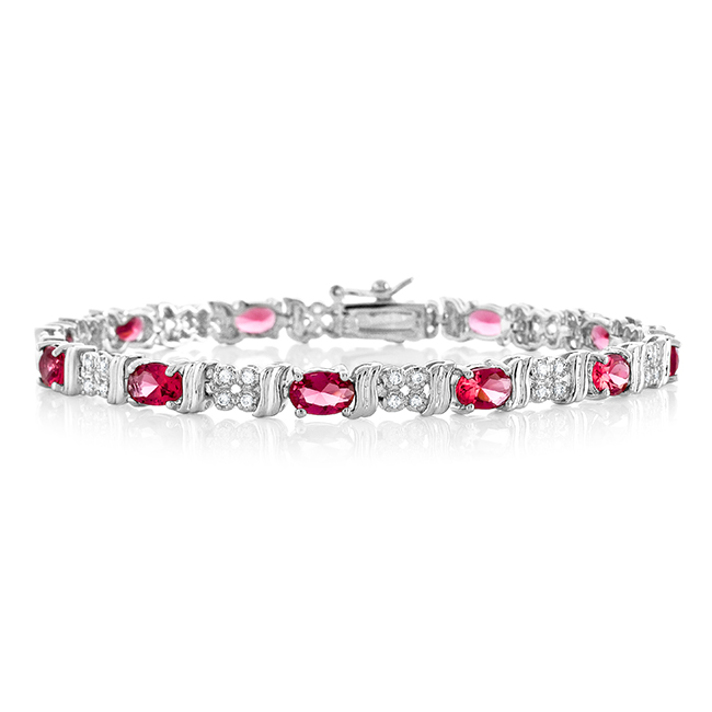 "8.65 Carat Simulated Pink Sapphire & Cubic Zirconia Fashion Bracelet 7.25"" by"