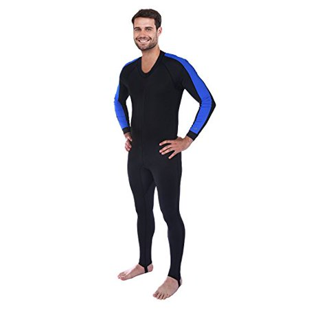 Ivation Men's Full Body Wetsuit Sport Skin for Running, Exercising, Diving, Snorkeling, Swimming & Water Sports, Blue/Black, X Small