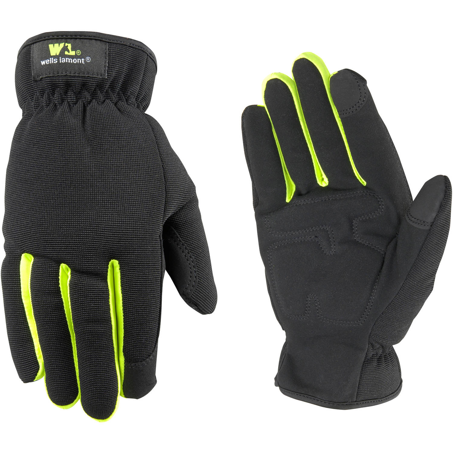 Wells Lamont Slip-On Synthetic Leather Hi-Dexterity Work Gloves with Touch Screen Technology and Leather Palm, Black/Hi-Viz Green
