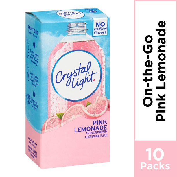 Crystal Light Pink Lemonade On-The-Go Powdered Drink Mix , 10 ct - 0.13 oz Packets