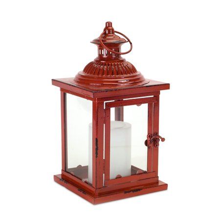 Set of 2 Red and Clear Square Candle Lanterns 13