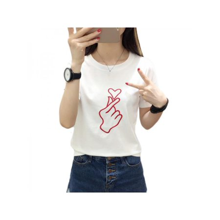 b9a7cca3f2 Topumt - Topumt Summer Unisex Couple Heart Printed Tops Casual T-shirt -  Walmart.com