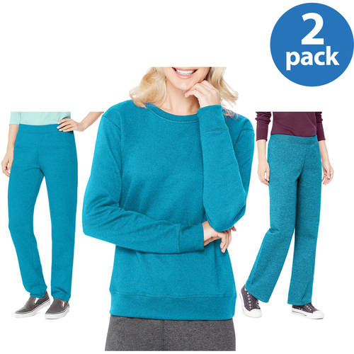 Hanes Women's Essential Fleece Crew Sweatshirt and Fleece Sweatpants, available in Cinched and Open bottom