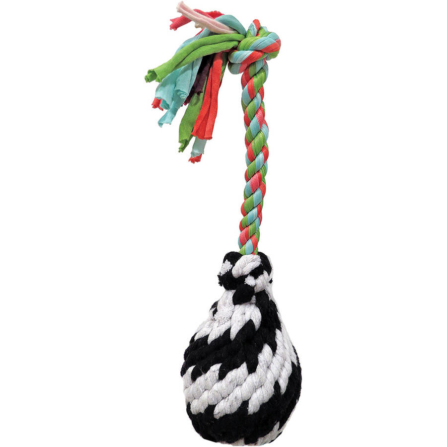 "Super Scooch Squeak Rope R Ball Dog Toy 9""-Small"