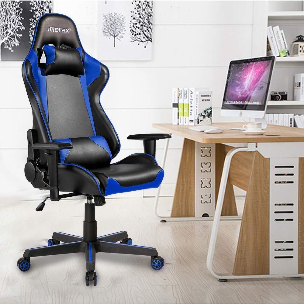 Merax Racing Gaming Chair Ergonomic High- Back PU Leather Chair