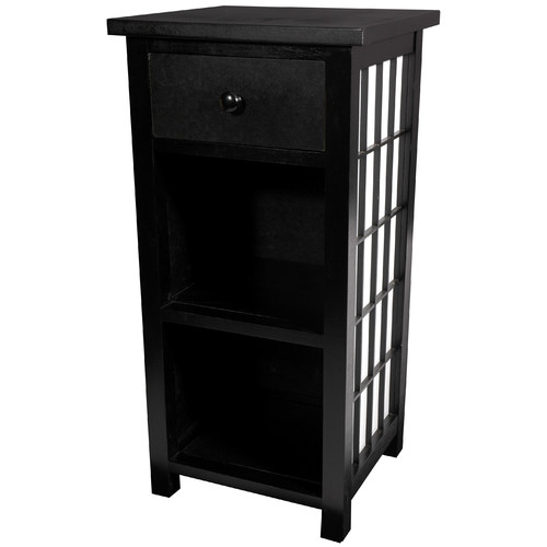 Shoji End Table With Shelves