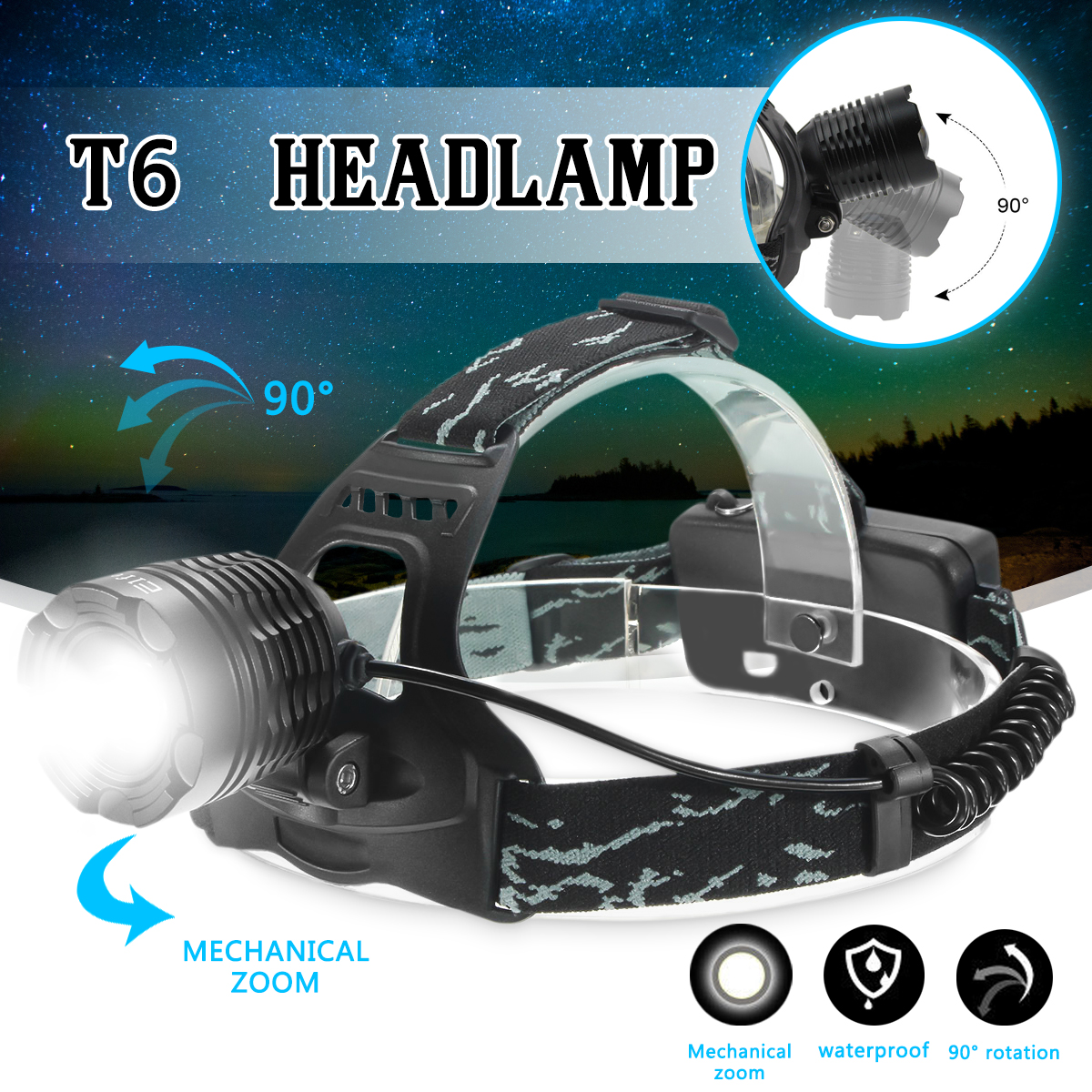 Elfeland 3500 Lumen T6 LED Zoomble Rechargeable Headlight Headlamp Flashlight Torch Waterproof 3 Modes For Hiking Camping Riding Fishing