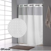 QKHOOK Hookless Shower Curtain with Snap in Liner (1 Pack) 71x74 Inches Mildew Resistant Fabric Waffle Water-Repellent and Antibacterial